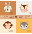 Monkey rabbit wolf and cow set of animals faces vector image