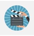 Abstract Cinema Clapper Flat Symbol Icon vector image vector image