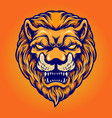 angry lion head mascot logo isolated vector image vector image