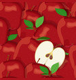apple pile seamless pattern and half red apples vector image vector image