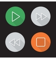Audio player flat linear icons set