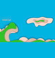 background with blue and green color paper cut vector image vector image