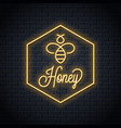 bee honey neon logo honeycomb neon sign vector image vector image