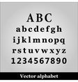 Black alphabet on grey background vector image vector image