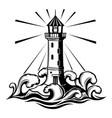 black lighthouse sign vector image