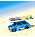 blue car with sup boards on the beach vector image
