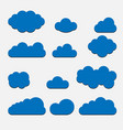 blue cloud set icons isolated on background vector image