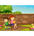 Boy stealing woman wallet in the park vector image vector image