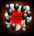 bunch of black white balloons frame black friday vector image