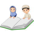 cartoon muslim boy and muslim girl holding a giant vector image vector image