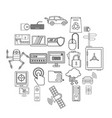 change in technology icons set outline style vector image