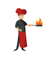 cheerful cook man doing flambe vector image vector image