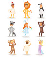 children kids animal costumes characters vector image vector image