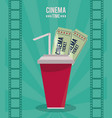 colorful poster of cinema time with drink and vector image vector image