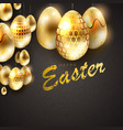 composition of a dark shade with eggs of a gold vector image vector image