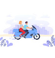 couple on a motorcycle vector image