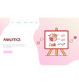 data analytics page with diagram and chart vector image