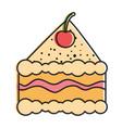 delicious cake portion icon vector image