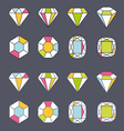 design facet crystal gem shape logo element lined vector image