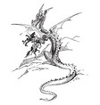 dragon holding knight horse in claw vintage vector image