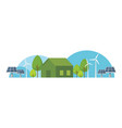 eco house with green energy vector image vector image