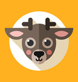face little reindeer in white circle and yellow vector image vector image