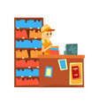 female seller standing behind the counter of the vector image vector image