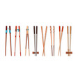 food chopsticks realistic 3d bamboo sticks for vector image