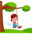 girl swinging on a swing tied to tree branch vector image
