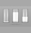 glass of milk realistic isolated on vector image vector image