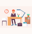 happy male sitting at workplace and smiling vector image vector image