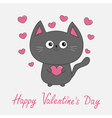 Happy Valentines Day pink text Gray contour cat vector image vector image