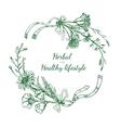 Herbal Sketch Round Frame vector image vector image