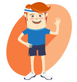 Hipster funny sportsman waving Flat style vector image vector image