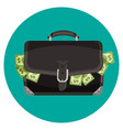 icon black leather briefcase full cash vector image vector image