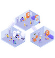 interior house cleaning isometric composition vector image vector image