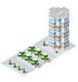isometric 3d module block district part vector image vector image