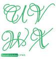jewelry alphabet from emerald stones vector image vector image