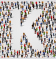 large group of people in letter k form vector image vector image
