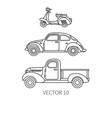line icon set retro tourism auto scooter vector image vector image
