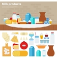 Milk products on the table vector image vector image