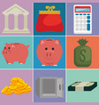 money financial set icons vector image vector image
