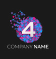 number four logo with blue purple pink particles vector image vector image