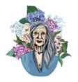 old woman surrounded with hydrangeas and flowers vector image