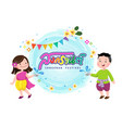 people in thai traditional dress splashig water vector image vector image