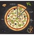 Pizza with mushrooms color picture vector image vector image