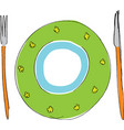 plate with fork and knife vector image vector image