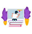 preschooler pupil writing on blackboard education vector image vector image
