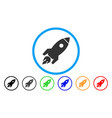 rocket launch rounded icon vector image vector image