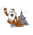 Santa Claus carrying sack vector image vector image